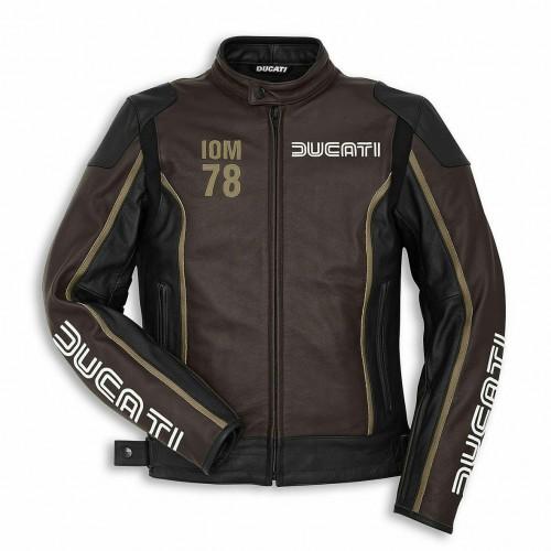 Ducati IOM 78 C1 Leather Mens Motorbike Motorcycle Jacket Isle Of Man Brown SALE