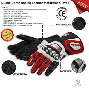 Ducati Corse New Leather Racing Motorbike Glove Pre-Curved Finger Motorcycle Gloves