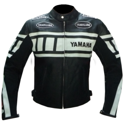 YAMAHA BLACK AND WHITE MOTORCYCLE BIKER LEATHER JACKET